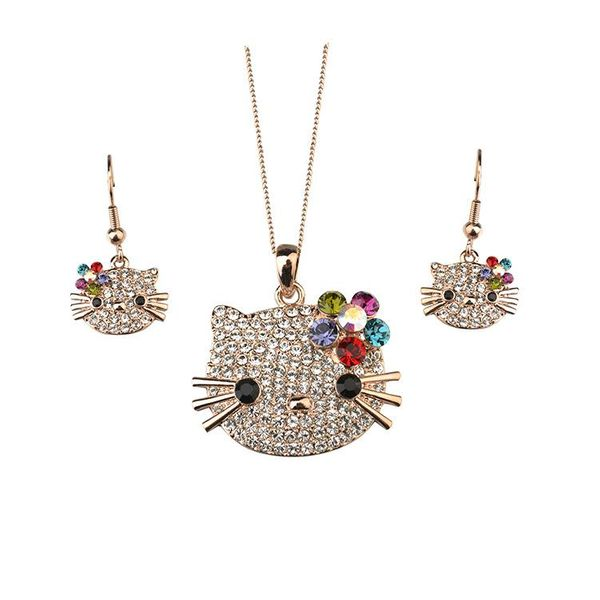Fashion cute inlaid diamond flower cat delicate jewelry set NHLJ198739