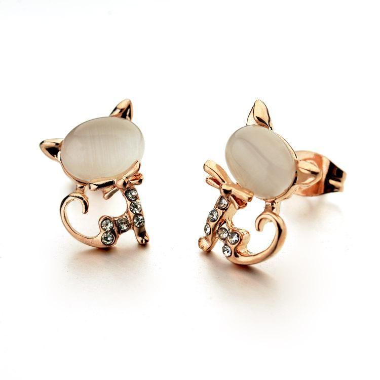 Korean cute temperament kitten earrings fashion small fresh opal earrings NHLJ198740