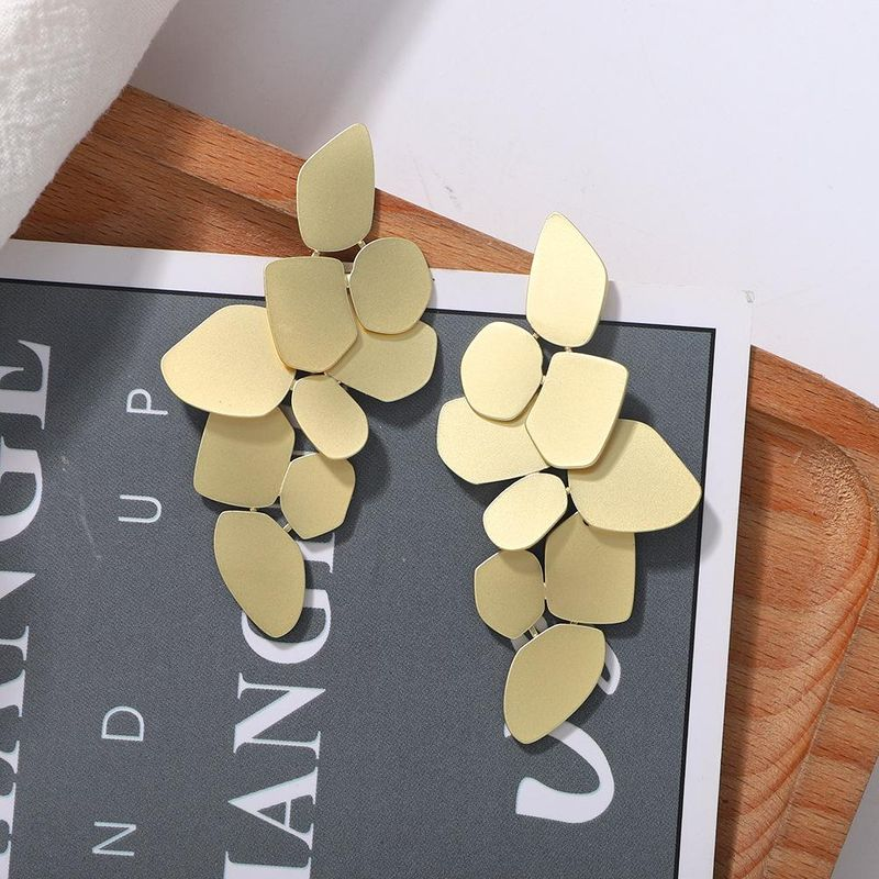 New fashion texture alloy simple irregular multilayer leaf-shaped earrings for women NHJQ198743