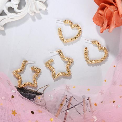 Korean  new fashion simple pleated alloy earrings wild love pentagram jewelry NHJQ198745's discount tags