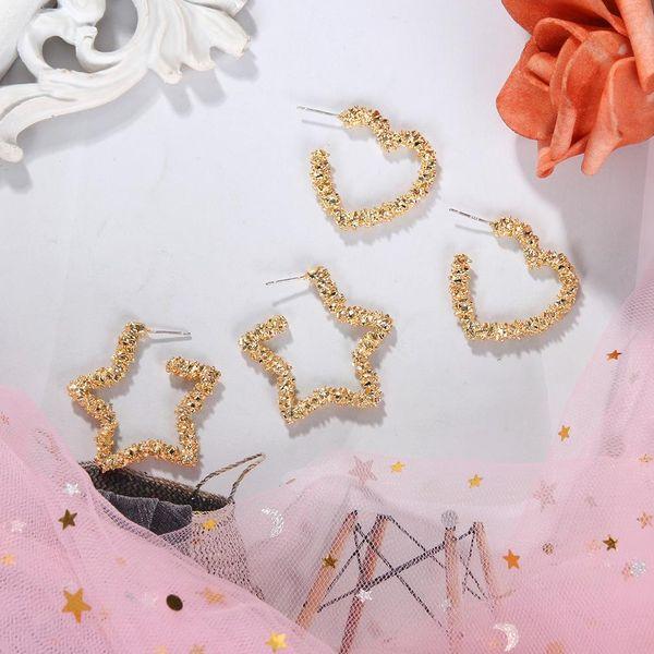 Korean  new fashion simple pleated alloy earrings wild love pentagram jewelry NHJQ198745
