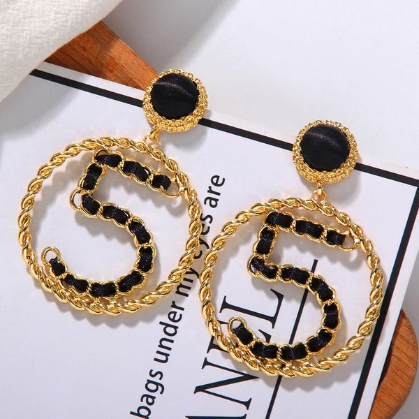 Korean new fashion creative digital temperament large circle black ribbon earrings women NHJQ198746