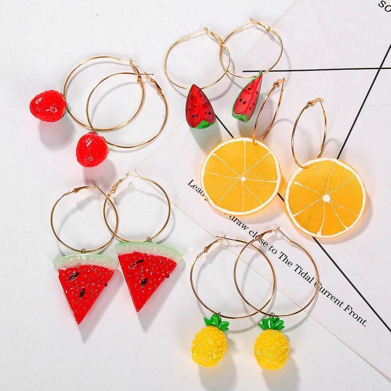 Korean fresh and sweet summer fruit earrings fine acrylic watermelon lemon ear jewelry NHJQ198747