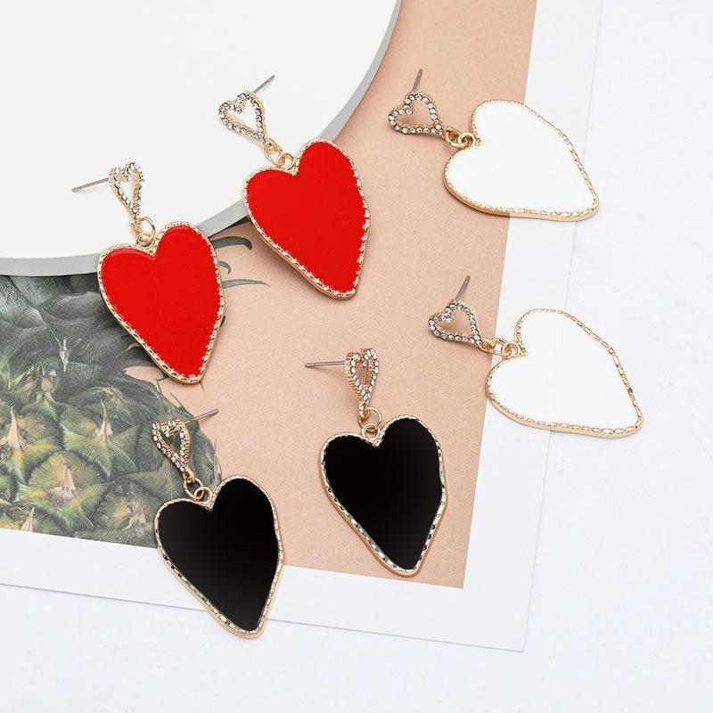 Spring new multi-layer love heart-shaped alloy dripping diamond rhinestone earrings women NHJE198748