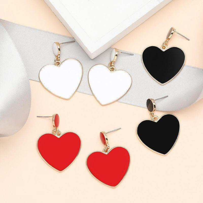 Simple style love heart-shaped alloy drip oil small fresh personality simple earrings women NHJE198749