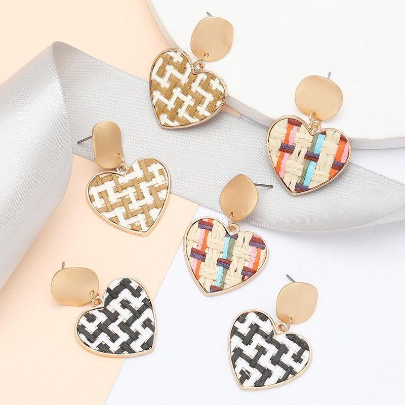 earrings fashion spring new alloy rattan weave pattern love heart earrings women NHJE198750