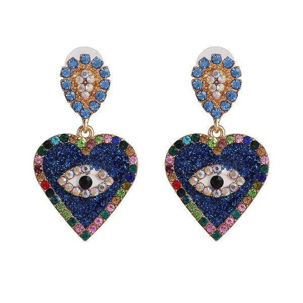 Nueva joyería aretes de corazón de temperamento de moda Pendientes de ojo de joya de diamante creativo NHJJ198755