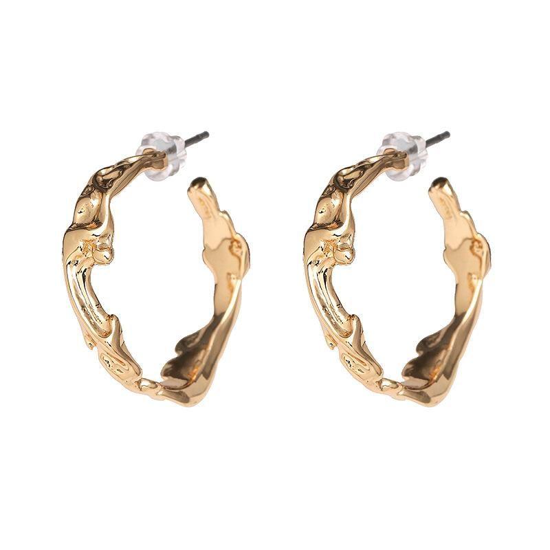 Simple retro alloy matte gold-plated earrings NHJJ198756