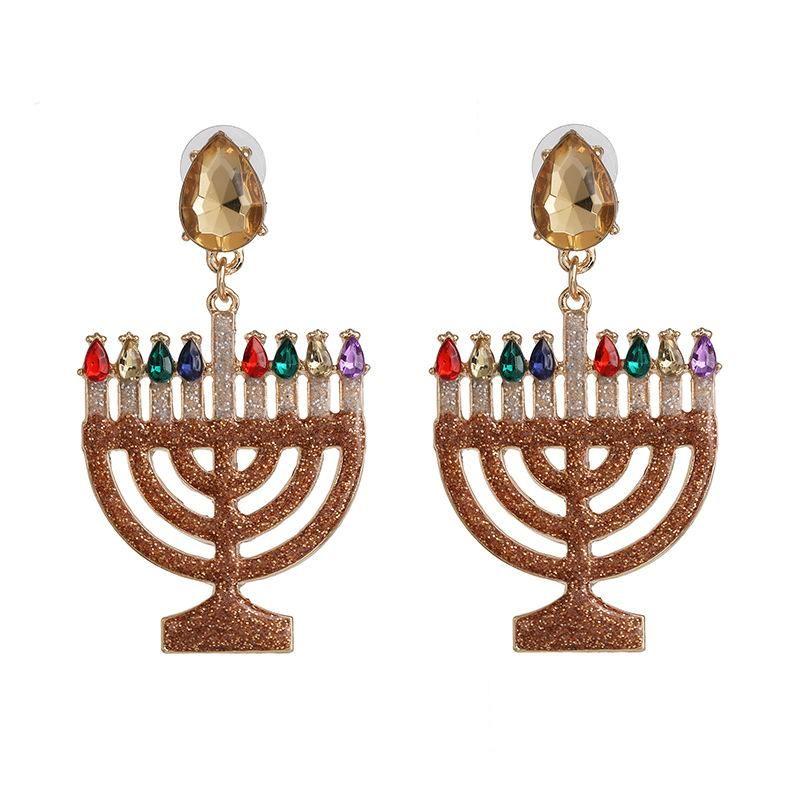 Exaggerated personality alloy diamond earrings retro temperament earrings NHJJ198758