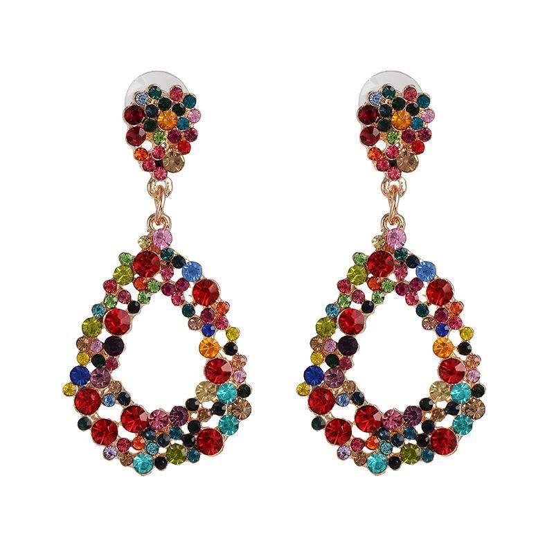 Retro diamond drop earrings women exaggerated ear jewelry NHJJ198760