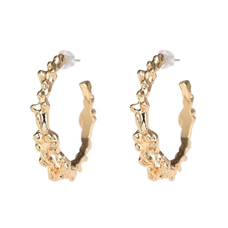 Simple retro alloy matte gold-plated earrings NHJJ198762