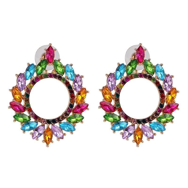 Personalized large circle alloy studded rhinestone full diamond earrings women fashion earrings NHJJ198763