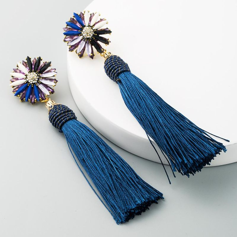 Exaggerated wild alloy multi-layered colorful rhinestone long tassel earrings for women NHLN198766