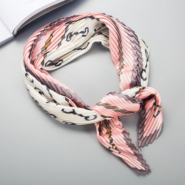 Korean  chic style pleated printing simulation silk wild small scarf NHLN198768