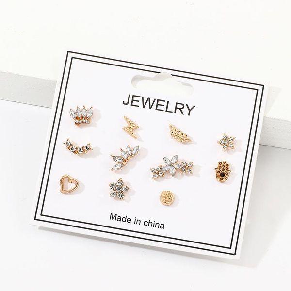 Pendientes multi-elemento de moda de 11 piezas pendientes de pentagrama de flor de diamante personalizados NHNZ198771