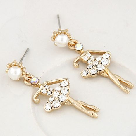 Korean fashion sweet flash diamond ballet girl temperament earrings NHSC199098's discount tags
