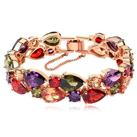 Copper-plated real gold elegant Mona Lisa zircon temperament exaggerated bracelet NHSC199096's discount tags