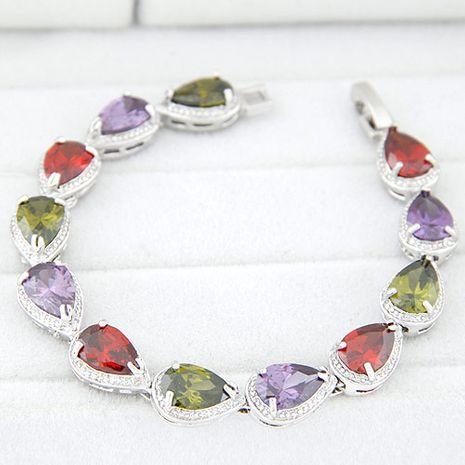 Fashion bracelets copper-plated real gold sparkling teardrop zircon bracelet NHSC199094's discount tags