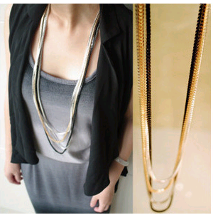 Korean fashion simple four-piece snake chain wild sweater chain NHSC199089's discount tags