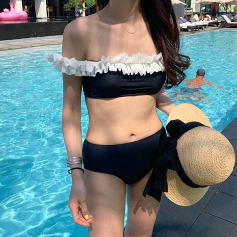 New Triangle Shoulder Ruffled Fashion Sexy Ladies Bikini Swimsuit NHHL198790's discount tags
