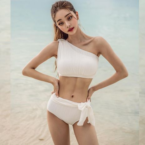 Fashion swimwear wholesale new fashion sexy white split female swimsuit NHHL198802's discount tags