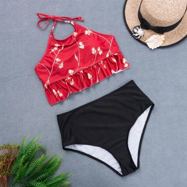Fashion swimwear wholesale beach bellyband printed sling bikini NHHL198811