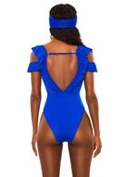 Solid color flash sexy mesh stitching onepiece swimsuit ladies triangle swimwear bikini NHHL198823