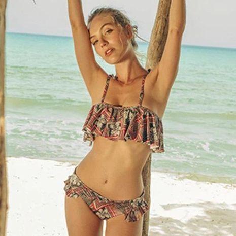 New flashing printed sexy female swimwear split strap bikini NHHL198825's discount tags