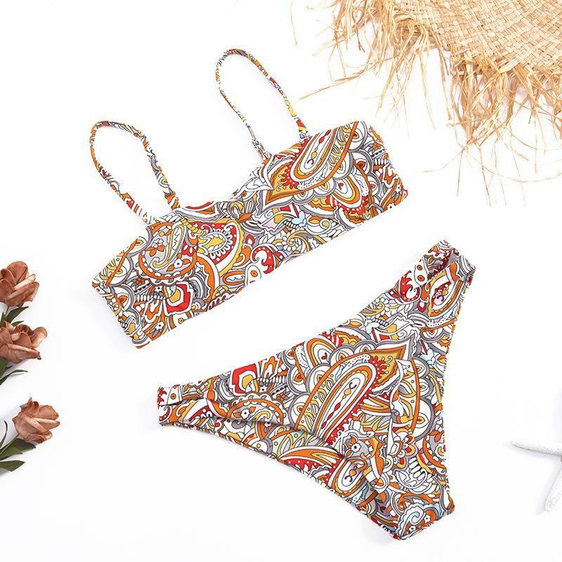Fashion women's bikinis wholesale retro printed sexy split swimsuit women NHHL198829