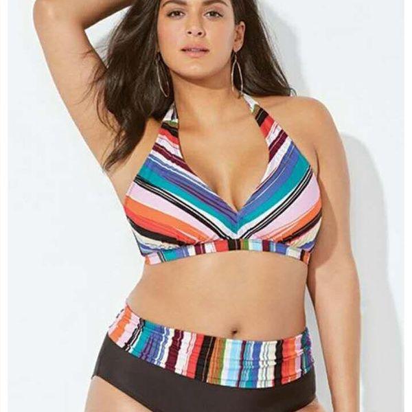 New bikini sexy explosion size plus size ladies striped swimwear split striped swimsuit NHHL198831