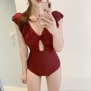 New pleated Vneck high waist briefs onepiece swimsuit women NHHL198844