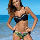 New split printed underwire gathered swimwear bikini NHHL198880