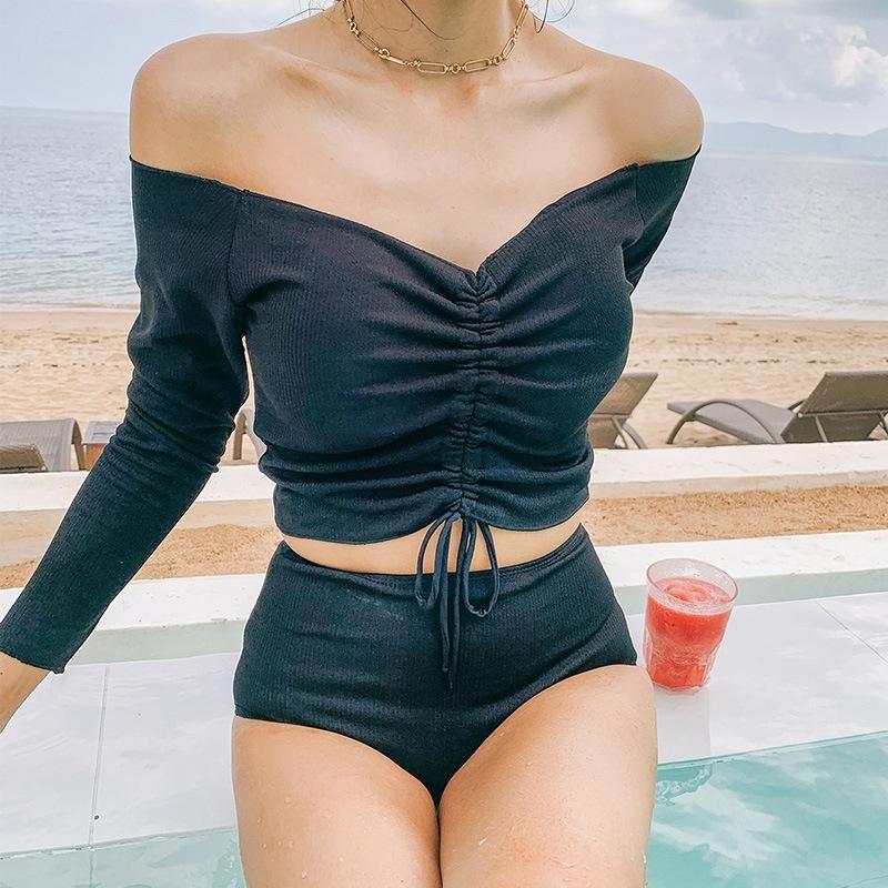 New long-sleeved split women's feeling slim and high waist cover belly vacation swimsuit NHHL198883