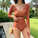 New split longsleeved highwaist conservative holiday cover belly was thin student swimsuit NHHL198894