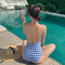 Fashion women39s monokinis wholesale new backless blue checked sexy backless onepiece swimsuit NHHL198903