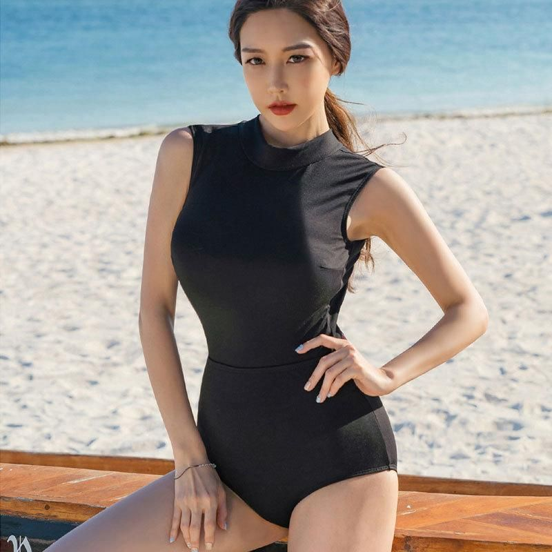 Fashion women39s monokinis wholesale new onepiece lapel cute sexy swimwear NHHL198906