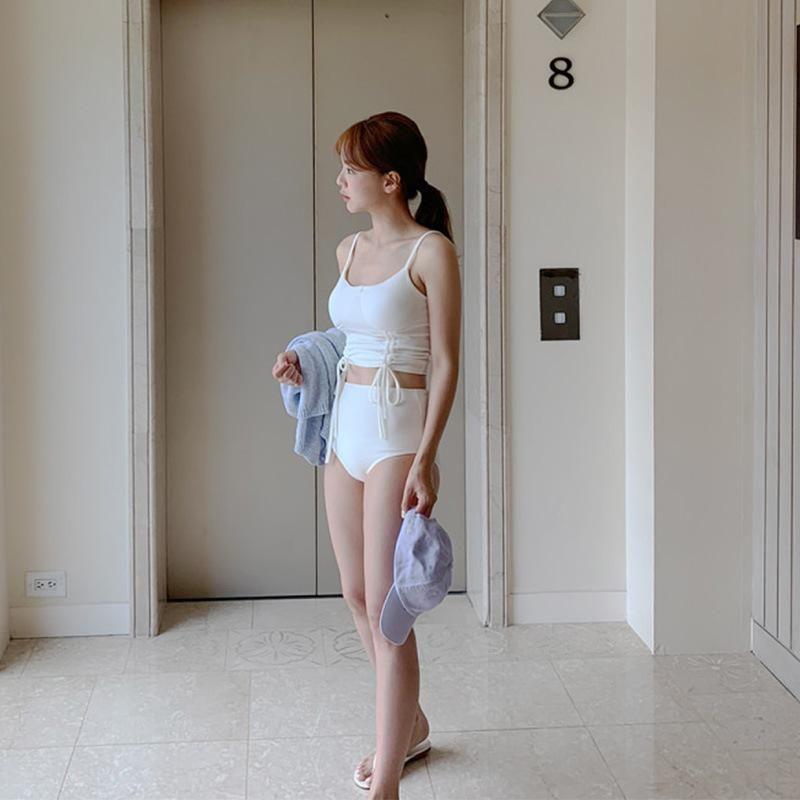 New girl split two-piece vacation beach bikini drawstring swimsuit NHHL198908