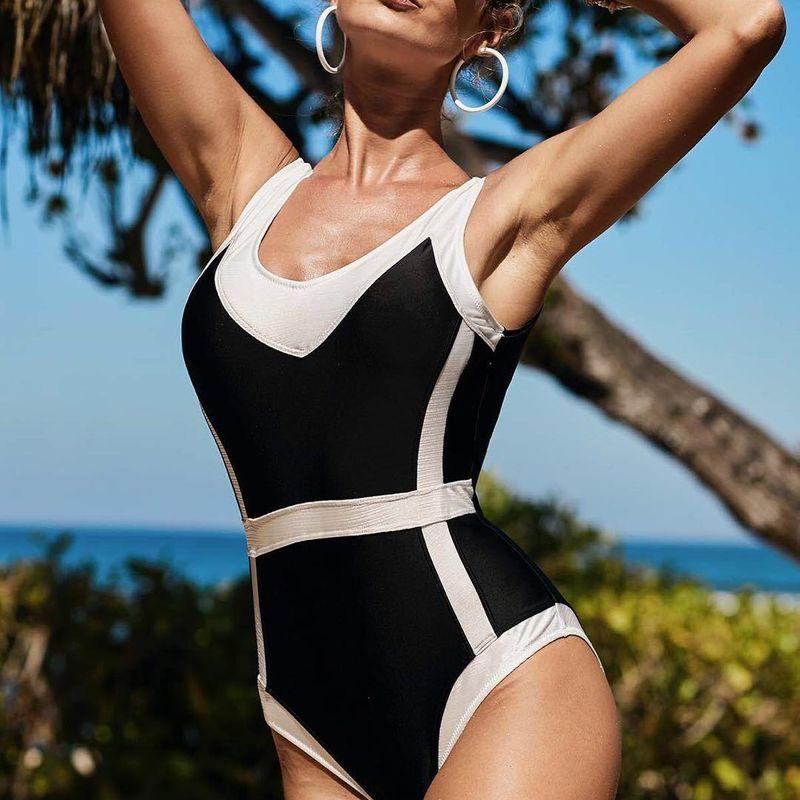 Fashion women's monokinis wholesale one-piece swimsuit black and white color matching swimsuit bikini swimsuit NHHL198915
