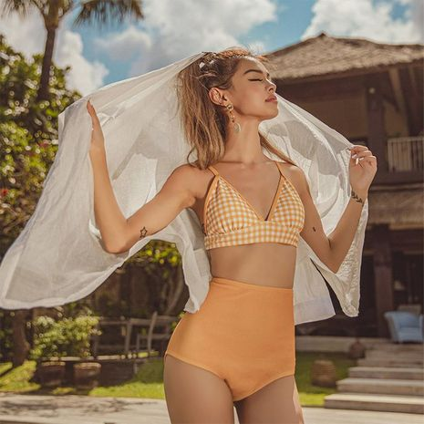 Fashion swimwear wholesale new split female deep V strap adjustable skinny swimwear NHHL198919's discount tags