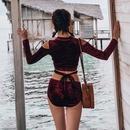 New burgundy velvet sexy longsleeved bikini threepiece swimsuit women NHHL198932