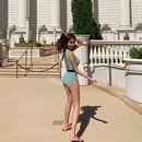 Fashion women39s monokinis wholesale new strap green knitted onepiece swimsuit NHHL198933