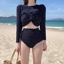 New female split longsleeved student high waist bow conservative thin swimsuit NHHL198935