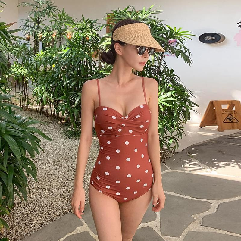 Fashion women's monokinis wholesale new fashion polka dot open shoulder strap triangle one-piece swimsuit NHHL198940