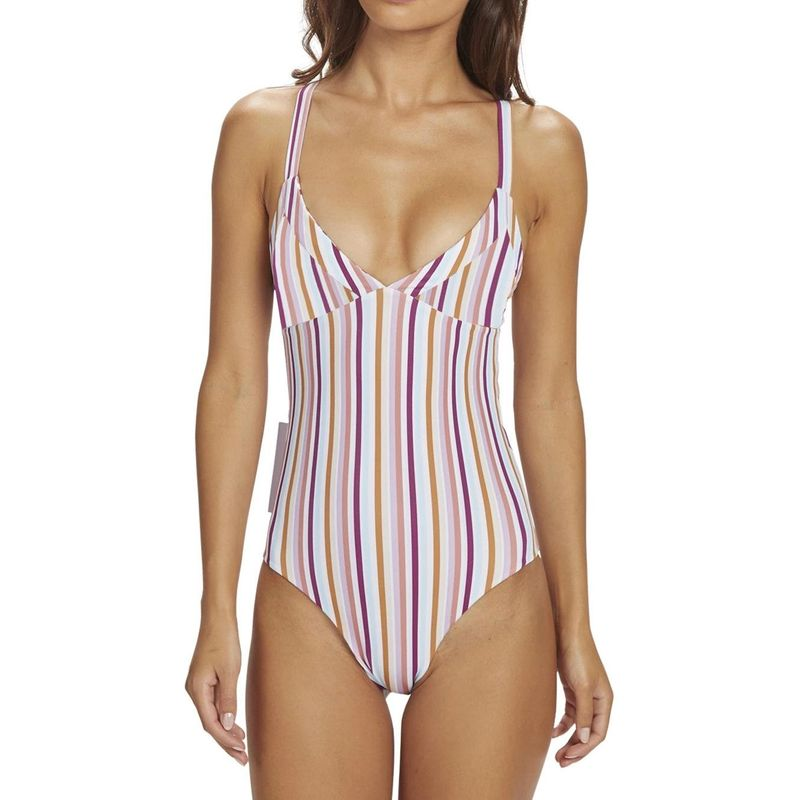 New one-piece swimsuit conservative solid color printed female bikini NHHL198953