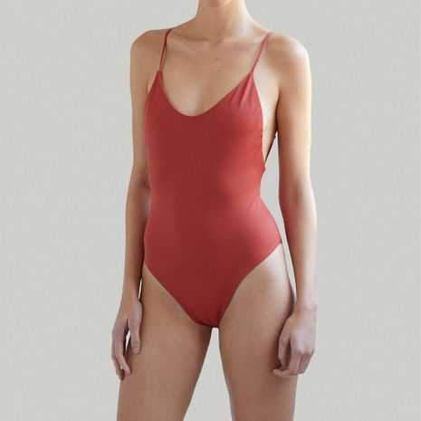 New Hot Sale European and American Solid Color Sexy One Piece Swimsuit Bikini NHHL198969's discount tags