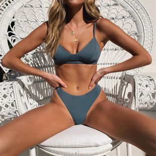 New sexy bikini split bright silk lace up female swimsuit NHHL198977's discount tags