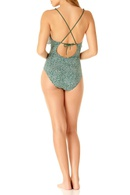 Explosion Floral Deep V One Piece Swimsuit Chest Ruffled Swimsuit NHHL198979
