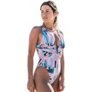 New sexy bellyprint printed tube top onepiece swimsuit vintage polyester Vshaped swimsuit NHHL198994