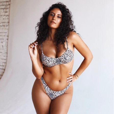 Fashion leopard print underwire bikini sexy swimsuit bikini NHHL199001's discount tags