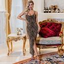 Spring and summer new sexy asymmetric animal print slim dress nightclub dress wholesale NHDE199723